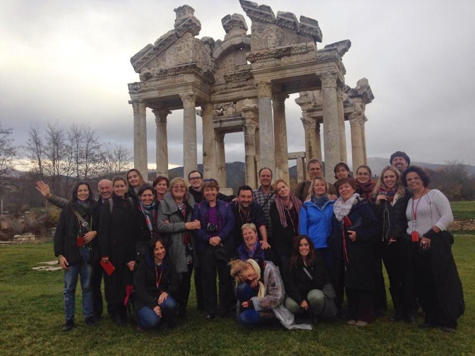 12 - Our great group in front of the monumental gateway to Temple of Aphrodite. Photo by Mert Taner